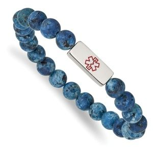 Medical ID Plate with Lapis Bead Stretch Bracelet